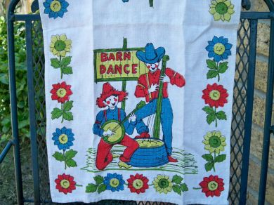 Vintage Barn Dance Country Farm Tea Towel