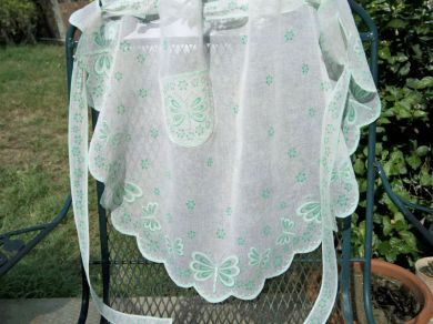 Vintage 1940s Ladies Cotton Voile Butterfly Cocktail Apron
