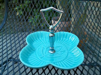 Vintage California Pottery Turquoise Snack Server Candy Dish