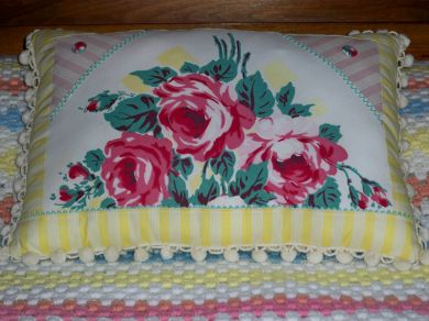 Vintage Country Cottage Roses Tablecloth Pillow Chenille Bedspread Backing Handmade