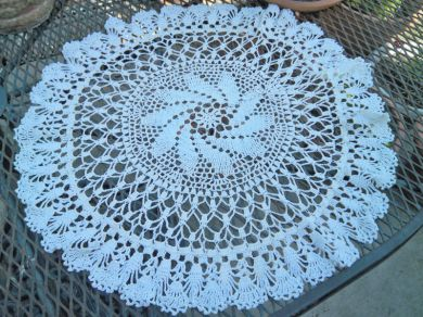 Vintage Cottage Cream Handmade Crocheted Doily Large