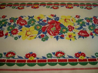 Vintage Floral Kitchen Towel Daffodils Poppies