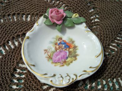 Vintage Dresden Miniature China Roses Portrait Pin Dish