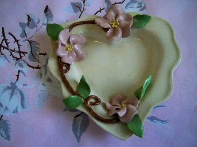 Vintage Pink Blossoms Heart Shaped Dish