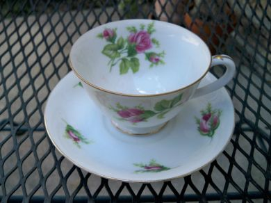 Vintage Country Cottage Pink Roses Teacup and Saucer Wild Rose by Japan China