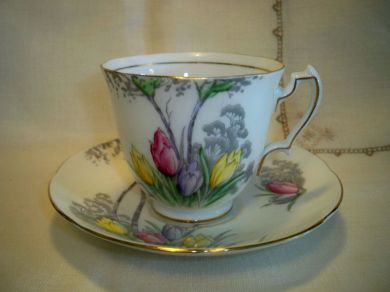 Vintage Adderley Tulips Trees Footed China Teacup And Saucer