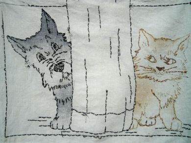 Vintage 1930s Vogart Pillow Cover Scottie Dog Cat Embroidered Pillowcase