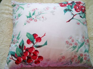 Vintage Wilendur Cherries Blossoms Tablecloth Pillow Handmade