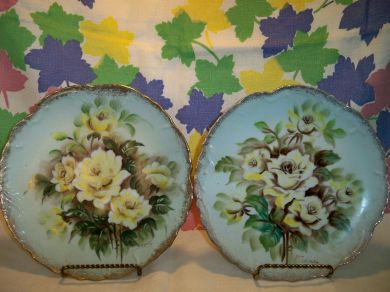Vintage Yellow Roses Porcelain Plates Ucagco Japan Artist Signed
